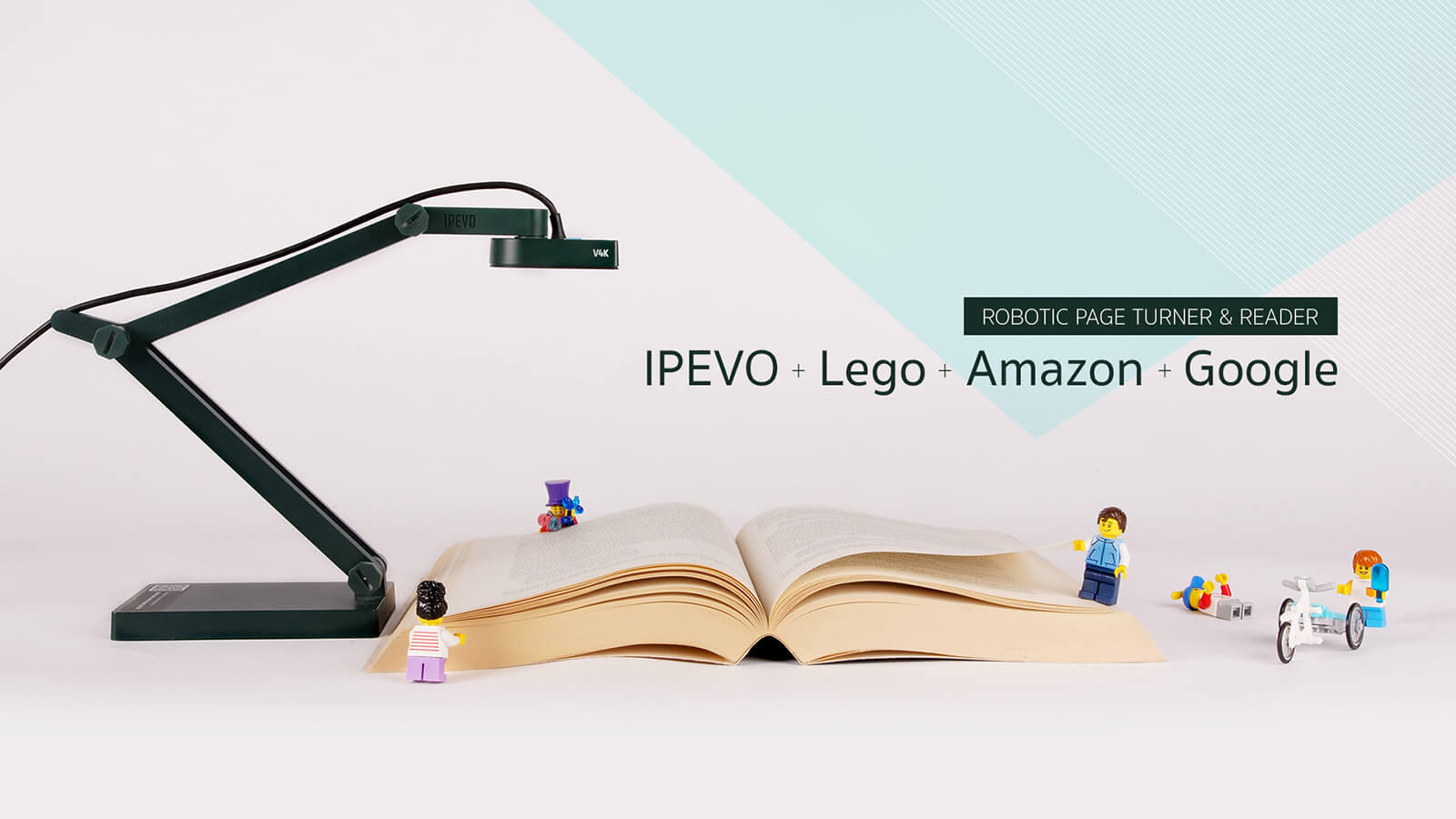 Creating a robotic page turner and reader for the visually impaired using tools from IPEVO, Lego, Amazon, and Google